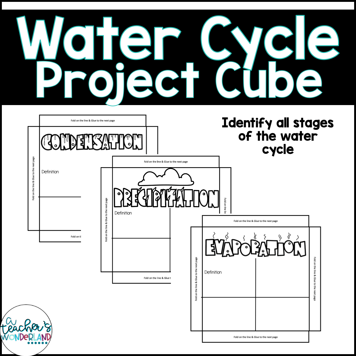 Water Cycle 3d Project Cube Science Craftivity A Teacher S Wonderland